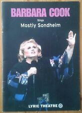 Barbara Cook sings Mostly Sondheim programme Lyric Theatre 2001
