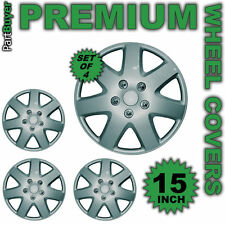 SET OF 4 X 15 INCH STEEL SILVER WHEEL COVER TRIM HUB CAP ALLOY LOOK 15""