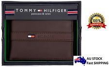 Genuine Tommy Hilfiger Brown Leather Men Ranger Billfold Wallet Authentic