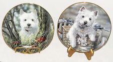 Danbury Mint - Set of 2 - West Highland Terriers - Hitching a Ride & Hide & Seek