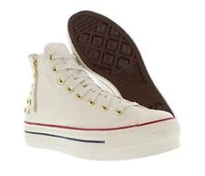 Chuck Taylor EGRET Square Metal Studs Zipper Converse Ankle Hi Shoes Wm 9 DISC
