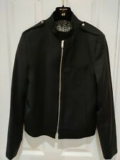 Zara Man Black Premium Bomber Jacket Size Small chest 36 In New Leopard Print
