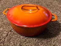 """Casron Vintage Enamel Cast Iron Orange 9.5"""" 4 Qt Pot Japan"""