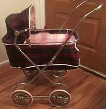 Vintage 1960s Baby Doll Buggy Stroller Plaid Vinyl Metal Rocking Carriage