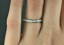 $2,695 Platinum Princess Cut Diamond Curved Wedding Band Euro Shank Size 7