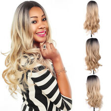 Women Blonde Middle Part Hair Full Wig Cosplay Natural Curly Wavy Synthetic Wigs