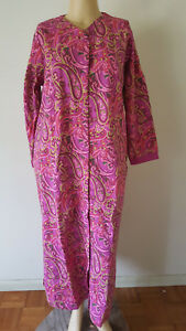 Womens Snap Front Long Robe L/S Only Necessities M 14W/16W Cotton Blend Knit