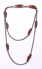 PLEASING BROWN METAL LINK AND AMBER BEADED INTERVAL LONG OR WRAP NECKLACE (ZX38)