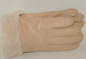 Women's Genuine Sheepskin Beige Warm Leather Shearling Fur Gloves S-M