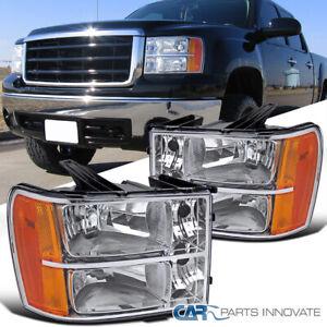 For 07-13 GMC Sierra 1500 2500HD 3500HD Clear Headlights Head Lamps Left+Right