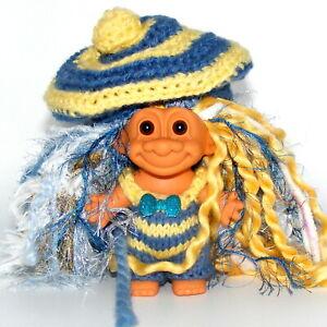 "Troll Doll, 4.5"", Russ, Yellow and Blue Knit Romper, Cap, Hair"