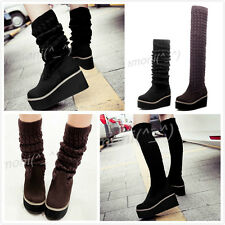 New Womens Platform Wedge Boot Mid Calf Korea Knit Knee High Pull On Shoe Plus