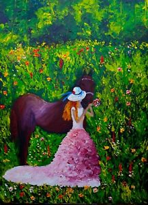 A Girl and her Horse  Natasha Petrosova original painting 18x24 inch