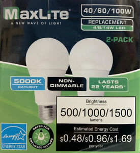 LED Bulbs 2 Pack - 3 Way 40/60/100W Replacement 4/8/14W Daylight MaxLite - New