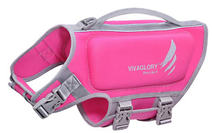 VIVAGLORY Small Dog Life Vest, Skin-Friendly Neoprene Life Jacket for Dogs Pink