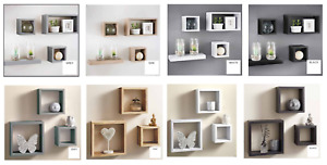Set of 3 or 4 Floating Wall Shelves Storage Display Shelf