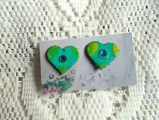 """Beautiful Vintage green, and Blue Hand painted Heart Clip-on Earrings (Approx)1"""""""
