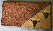 CHESTNUT SADDLE TAN WESTERN LEATHER CHECKBOOK COVER COW SKULL TRIM FREE SHIP