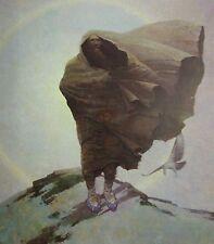 Vintage Art N C Wyeth Winter 1909 Native Wind Blowing Cloak Cape Mountain Peak