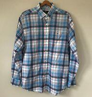 Vineyard Vines Classic Fit Tucker Button Front Shirt Large Whale Logo Blue Plaid