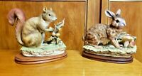 Hand Painted Lefton Rabbit Hare and Squirrel Figurine Porcelain Figures