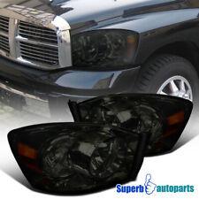 For 2006-2008 Dodge Ram Smoke Headlight Head Lamps w/o Bar