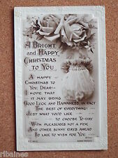 R&L Postcard: Bright & Happy Christmas, Floral, Rotary, Poetry by Wilmer