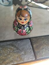 Vintage Russian Matryoshka Nesting Roly Poly Musical Bell Doll Hand Painted Wood