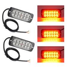 Pair LED Amber Light Emergency Warning Strobe Flashing Yellow Bar Hazard Grill