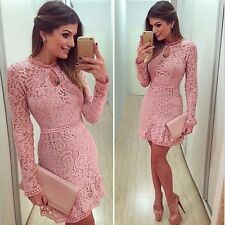 Women Sexy Pink Hollow Lace Long Sleeve Slim Dress Party Evening Cocktail Dress