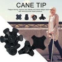 Tripod Quad Six-tipped Walking Stick Self-standing Cane Tip Anti-slip Foot Pad