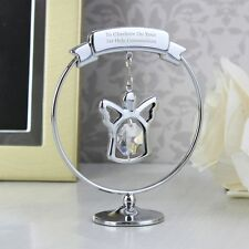 -:- First Holy Communion -:- PERSONALISED Silver Plated Swarovski Angel Ornament