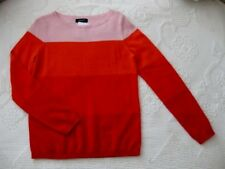 LANDS END 100% CASHMERE COLORBLOCK LONG SLEEVE SWEATER SZ SMALL 6 - 8 NEW