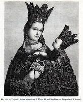 Madonna di Trapani: Statua Miracolosa. Sicilia.Stampa Antica + Passepartout.1893
