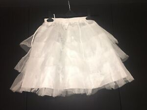 White Tutu Mini Skirt Micro High Waist Draw String Rara Party Pleated Size 8-12