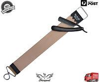 Genuine Leather Strop/Belt PLUS Straight Edge Cut Throat Shaving Razor/Blade