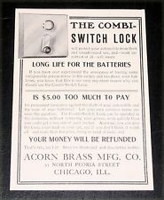1905 OLD MAGAZINE PRINT AD, ACORN BRASS, COMBI-SWITCH LOCK FOR AUTOMOBILE THEFT!