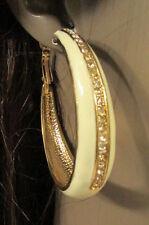 Women Gold Metal Classy Hoop Fashion Earrings Set Dressy Rhinestones White Cream