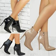 New Womens Ladies Smart Office Black Ankle Boots Sexy Stiletto High Heels Zip Up