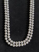 Vintage Signed Crown Trifari Silver Tone Bead Double Strand Statement Necklace