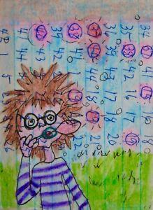 """ACEO-""""Bubbles"""" Original/Signed Mixed Media/Cartoon Art/Watercolor/Ink"""