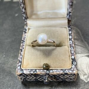 Mikimoto Pearl Ring 9ct Gold Vintage Japanese Saltwater Akoya Authentic 1960's