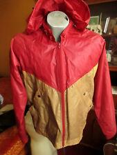 MEDIUM True Vtg 80's COLORBLOCK HOODY THIN NYLON WINDBREAKER Jacket  RED/GOLD