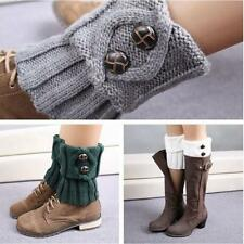 Women Crochet Knit Boot Socks Cuffs Toppers Short Ankle Leg Warmer With Button G