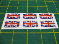 6 SMALL DOMED UK UNION FLAG STICKERS 15mm x 7.5mm