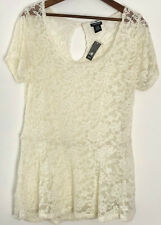 44359982575 Torrid Lace Peplum Top Size 0 0x Cream Sheer Blouse Shirt Short Sleeve