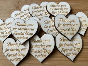 Personalised Contemporary Wooden Hearts 4cm Table Decorations Wedding Favours