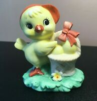**Vintage LEFTON handpainted Easter Chick w/basket of eggs #01355 Red Foil Tag