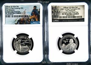 2-coin PF70 Set 2021 S NGC Tuskegee Airmen + Washington Crossing CLAD QUARTER