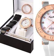 elegante Armbanduhr Perlmutt/Rose Leder- und Silikonarmband ENGELHARDT 229€ UVP